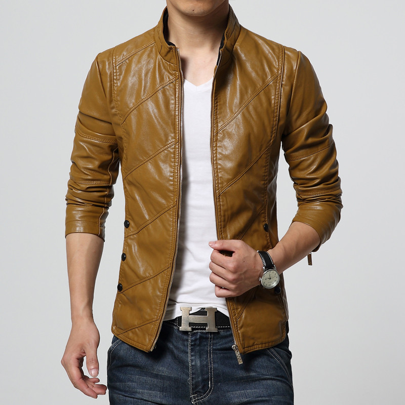 c5582669acd New Fashion PU Leather Jacket Men Black Red Brown Solid Mens Faux ...