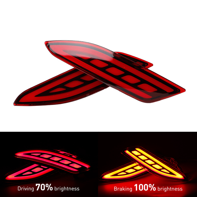 Okeen 2pcs Red Led Rear Bumper Light Rear Fog Lamp Brake Light Tail