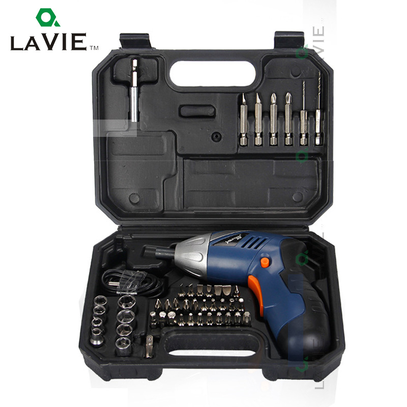 LA VIE 46pcs 4V cordless Electric screwdriver USB Rechargeable Lithium Battery Screw Gun household Drilling Tools PTAS07003 polymer lithium battery electric gun water gun with remote control car 7 4v 1800mah lithium battery accessories customized toys