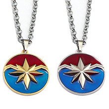The Avengers Captain Marvel Logo necklace Fashion Metal Ms. Marvel Pendants Men figure toy Gift Movie Jewelry thanos necklaces