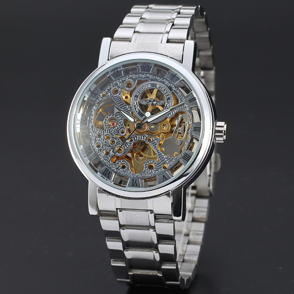 Classic Brand WINNER Men Skeleton Mechanical Watch Transparent Steampunk Hand Wind Full Stainless Steel Montre Homme