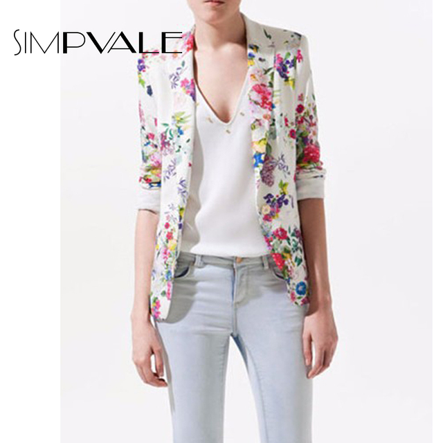 Woman Suit Jacket Long Sleeve Slim Fit Small Coat 2016 New Floral Prints Blazer Lady Single Button Turn-down Collar Tops