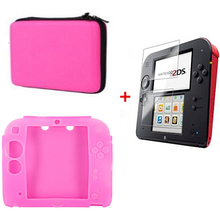 Pink Silicone case Bag+Protect Clear Touch Film Screen Guard+Pink EVA Protector Hard Travel Carry Case Pouch bag for nintend 2DS недорого