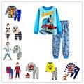 2017 minions pijamas das Crianças set Primavera & outono roupas menino definir 100% algodão Menino dos desenhos animados do bebê pijamas das Crianças Sleepwear