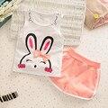 Новый Комплект Одежды Младенца Кролик Лето Мальчики Девочки Детская Одежда набор Бренд Спорт Младенческой Малыш Костюмы Костюмы Хлопка Жилет + брюки
