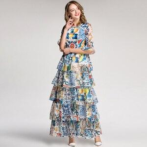 Image 3 - Aeleseen 가을 여성 긴 드레스 2018 휴일 럭셔리 하프 플레어 슬리브 패션 패치 워크 인쇄 도자기 로맨틱 활주로 드레스