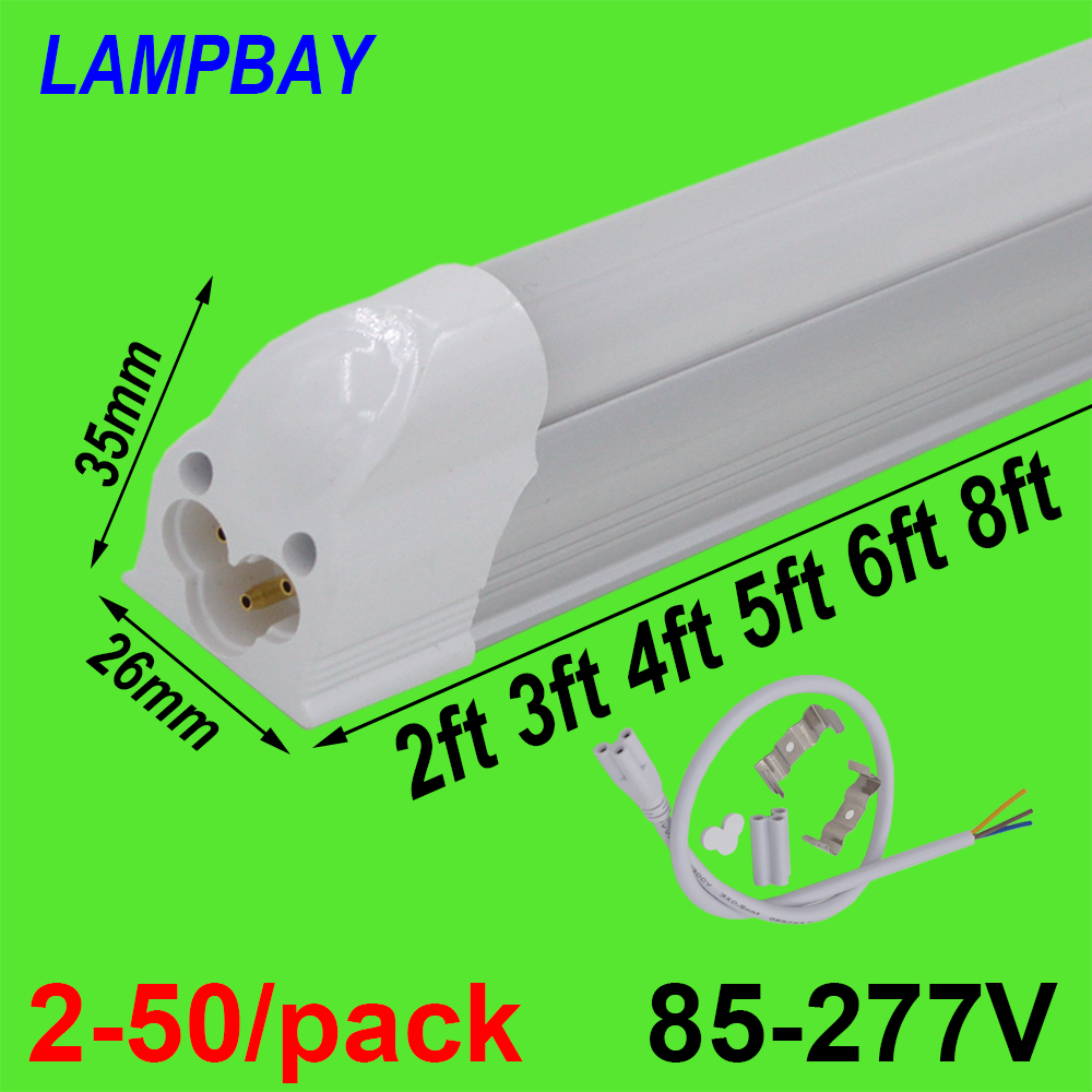 2-50/pack T5 Integrated Bulb 2ft 3ft 4ft 5ft 6ft 8ft LED Tube Light Slim Bar Lamp Fixture Surface Mounted Linear Lighting