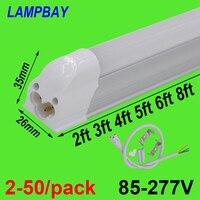 2 50/pack T5 Integrated Bulb 2ft 3ft 4ft 5ft 6ft 8ft LED Tube Light Slim Bar Lamp Fixture Surface Mounted Linear Lighting