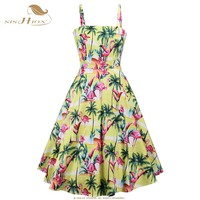 SISHION Swing Inspired Retro Pin Up Vintage Dress VD1108 Cotton Women Summer Spaghetti Strap Yellow Flamingo Print Floral Dress