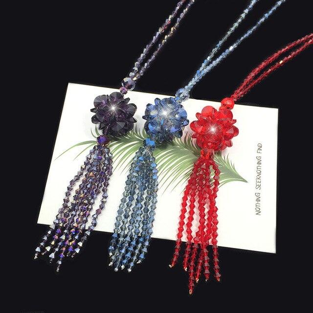 Купить длинное ожерелье с кристаллами женский модный свитер трендовая картинки
