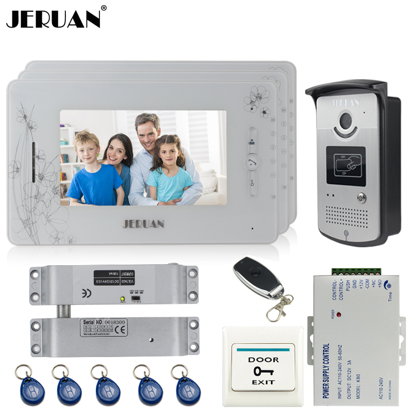JERUAN three 7``monitor color video door phone intercom system 700TVL RFID Access IR Night Vision Camera+Electric Bolt lock jeruan three 7 monitor color video door phone intercom 700tvl rfid access ir night vision camera electric mortise lock 8gb card