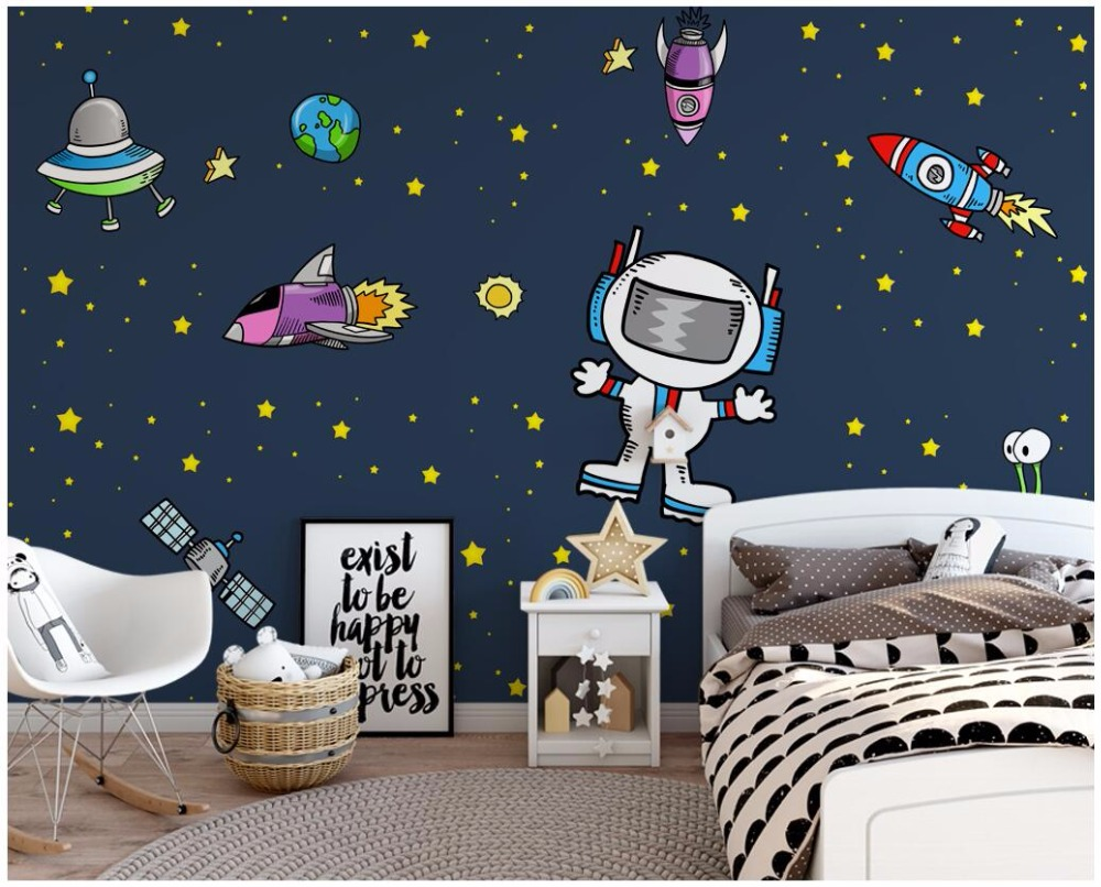 WDBH Custom Mural 3d Wallpaper Cartoon Space Universe