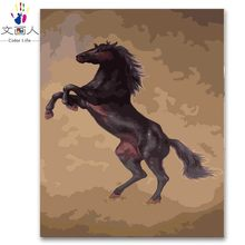 animal horse diy digital oil painting by numbers handmade for living room decor wall art picture coloring by numbers kits frame(China)