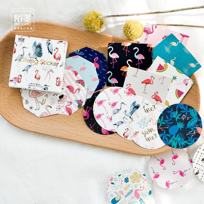 45 Pcs/pack Flamingo Fantastical Color Decorative Stickers Adhesive Stickers DIY Decoration Diary Stickers Box Package