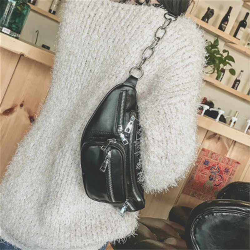 WENYUJH Waist Bag Women Waist  Packs Belt Bag Luxury Brand Leather Chest Handbag Black Color 2018 New Pochete with Sequins