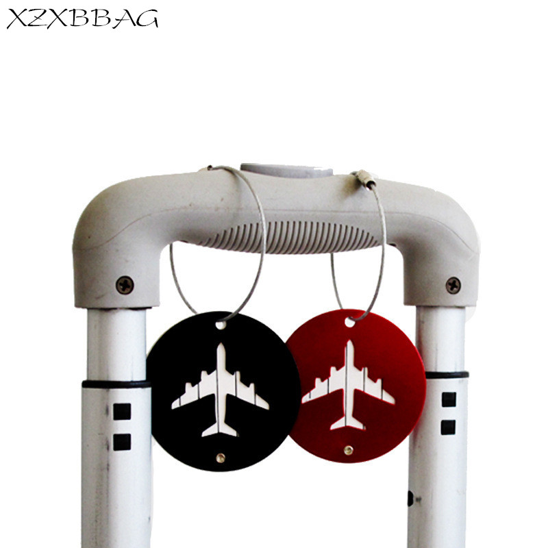 XZXBBAG Metal Travel Accessories Aluminum alloy Luggage Tag Round Airplane Checking Baggage Name Label Suitcase Address Holder ...