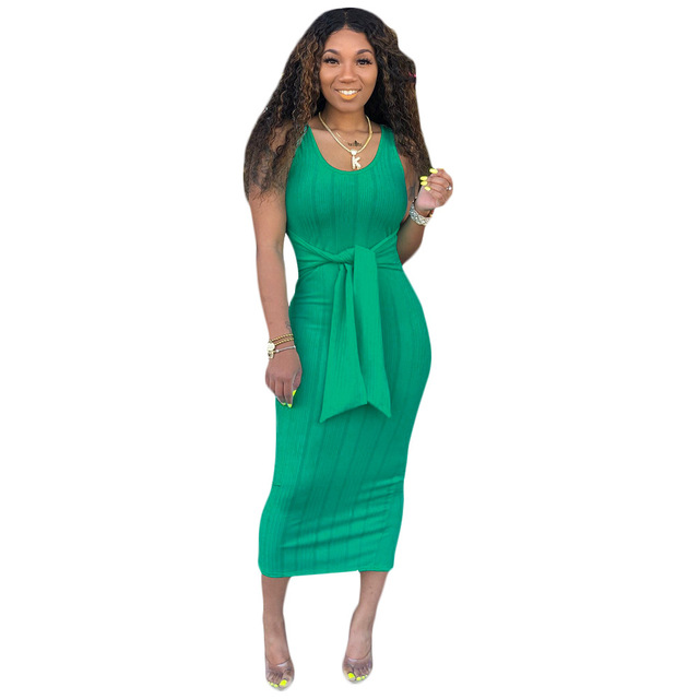 Ribbed Knit Sleeveless Maxi Dress Women Summer Casual Bodycon Bandage Long Dresses Plus Size D43Ad57