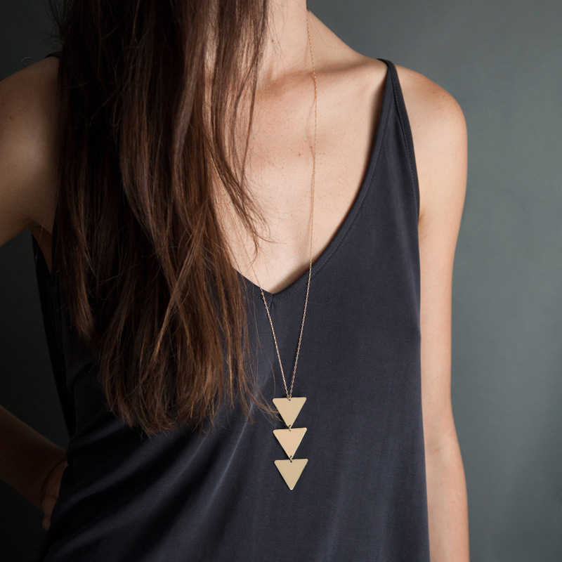 2019 NEW pendant Necklace triangle Long Chain Women choker Necklace Chocker collana Bijoux Collier Femme Joyas mujer ras du cou