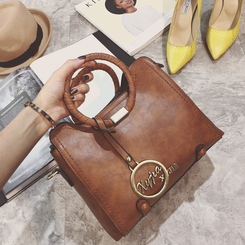 ФОТО Fashion  High Quality Women Vintage Handbag with Ring Lady Messenger Bags Pu Leather Woman Shoulder Bags Desinger Bags wm0254