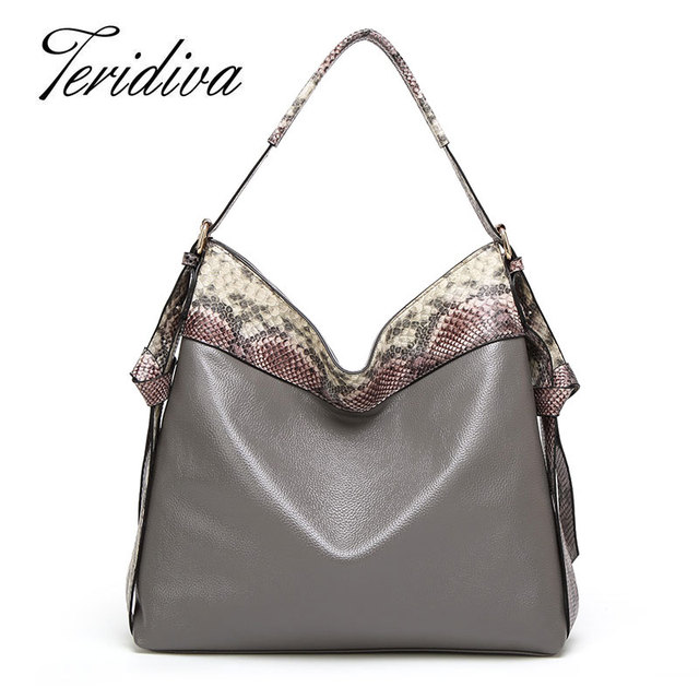 Teridiva bolsas grifes de alta qualidade tote bolsa de ombro serpentina saco hobos crossbody sacos para mulheres patchwork bolsa