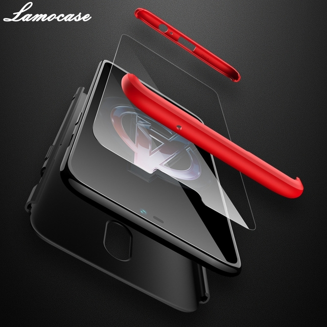 Lamocase Case for Oneplus 6 360 Full Protection Shockproof Matte Comfortable Feel Hard PC 3 In 1 for oneplus6 Cover Free Glass 2