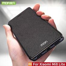 Per Xiao mi mi 8 lite caso Per xiao mi Mi 8 lite caso della copertura Del silicone 360 di lusso del cuoio di vibrazione originale Mofi per Xiao mi mi 8 caso di lite
