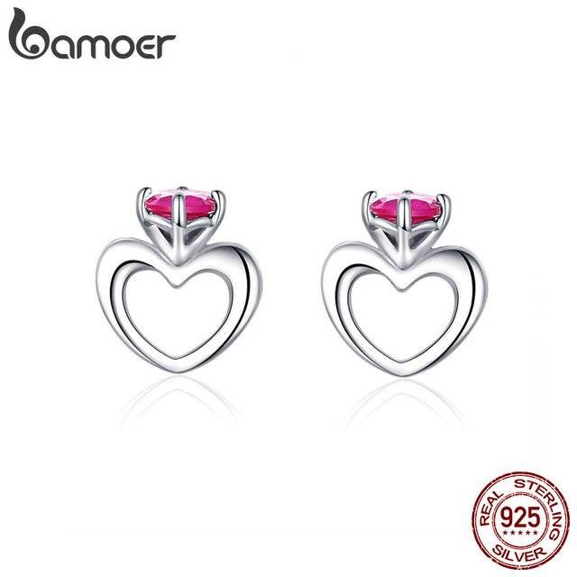 7d7757e37 bamoer Heart Crown Earrings for Women 925 Sterling Silver Small Heart-shape  Stud Ear Fashion Jewelry Bijoux BSE160