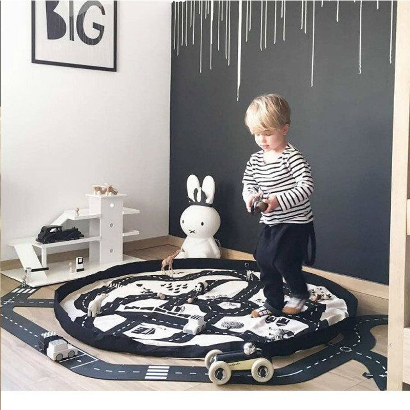 100% Cotton Kids Toys Baby Rug Playing Mat Baby Crawling Mat for Children Racing Games Carpets for Infant Toy Storage Bag