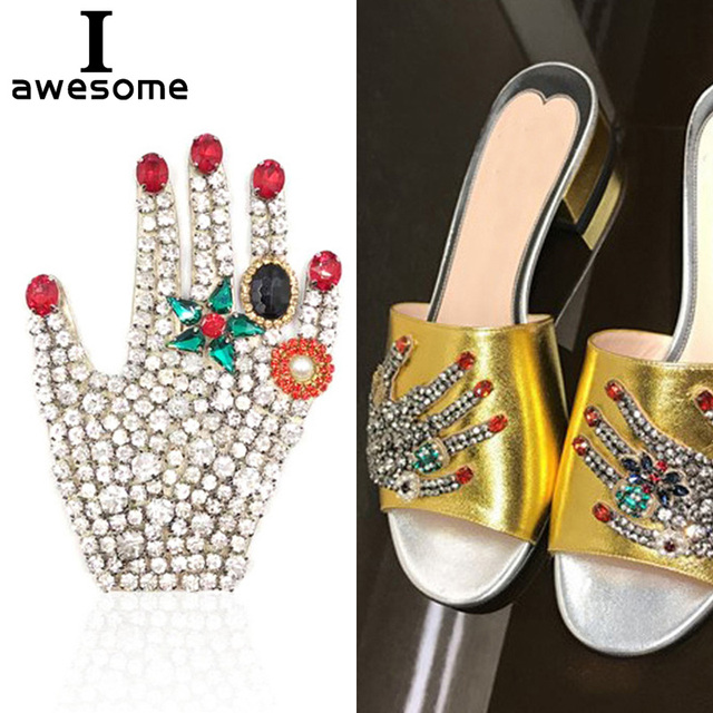 9616e2a7251f 1pcs Beautiful Palm Bridal Wedding Party Shoes Accessories High Heels Shoes  DIY Manual Rhinestone Shoe Decorations