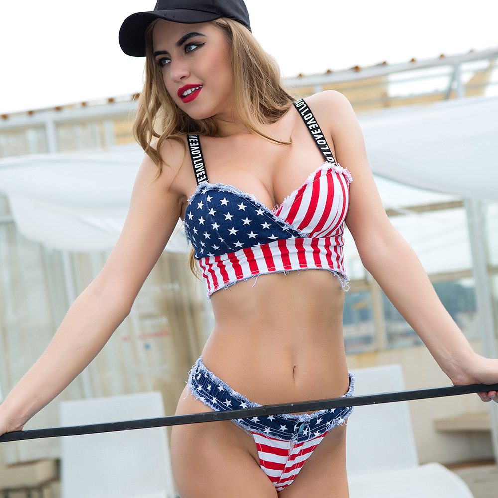 2 piece set women's Sexy super shorts and bras 2018 Denim Cotton American flag bikini suits set ladies Skinny suit twinset Girls