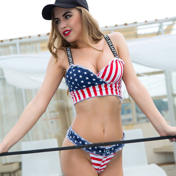 2 piece set women's Sexy super shorts and bras 2020 Denim Cotton American flag bikini suits set ladies Skinny suit twinset Girls 2piece set women s sexy bra and shorts 2019 summer cotton bandage prints super bikini suits set ladies sexy suit bikini twinset