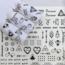 Water Nail Stickers Rabbit Triangle Dandelion Skeleton Transfer Art Decals Manicure Decoration