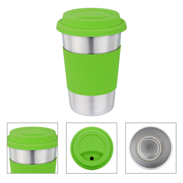 400ml Coffee Mug Water Drinking Cup 13 5oz Stainless Steel Antiscald Lid Eco
