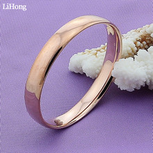 Fashion 925 Sterling Silver Bracelet Bangles Simple Rose Gold Women Wedding High Quality Jewelry
