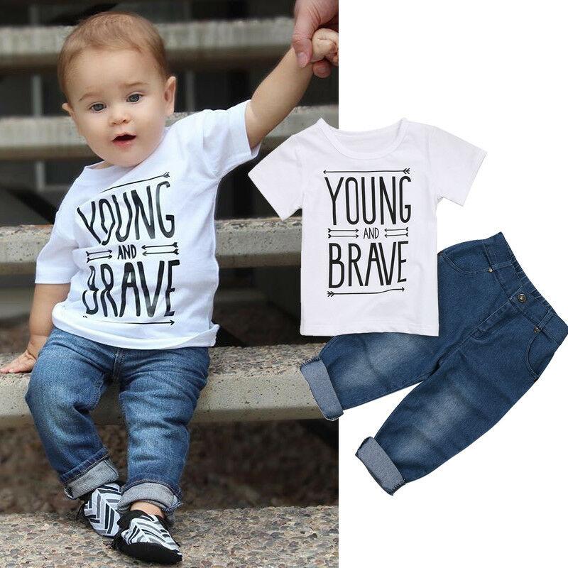 2Pcs שרוול קצר T חולצה למעלה + ג 'ינס צפצף סט לפעוטות ילד ילד קיץ בגדי צעיר ואמיץ מכתב טי חולצות מכנסיים סט