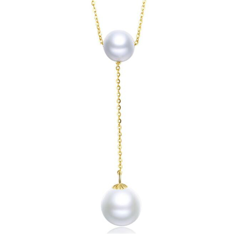 18K Yellow Gold Natural Cultured Freshwater Pearl Necklace for Women New Queen Water Drop Chain Link Pearl Gold Jewelry18K Yellow Gold Natural Cultured Freshwater Pearl Necklace for Women New Queen Water Drop Chain Link Pearl Gold Jewelry