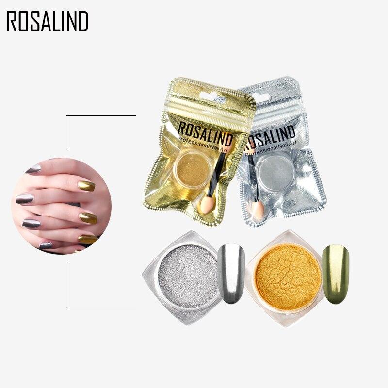 Хромированный пигмент ROSALIND для дизайна ногтей, блестящий волшебный порошок с зеркальным эффектом, основа для украшения ногтей, алюминиевые...