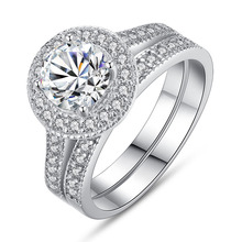 Huitan Wedding Ring Set Micro Paved Bridal For Girlfriend Elegant 2PC With Sparkly Cubic Zircon Summer Hot Selling