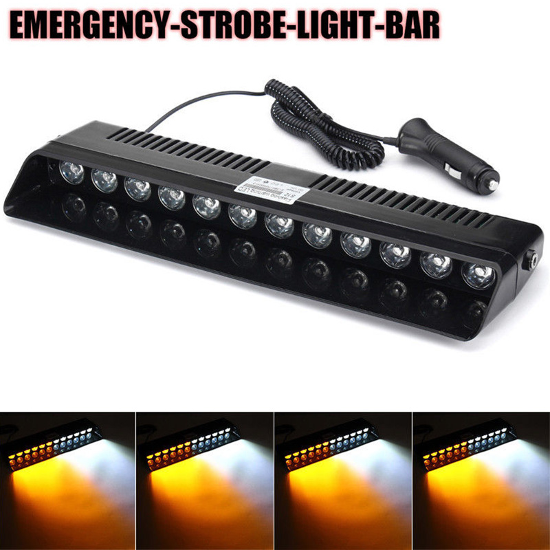 1 Set 12V Car Truck Dash Emergency Strobe Flash Amber + White Light 12 LED Bar Warning Flashing Lamp with Accessories 4 led 12 24v car strobe flash light white red amber light vehicle truck rear side light car emergency warning lamp drop shipping