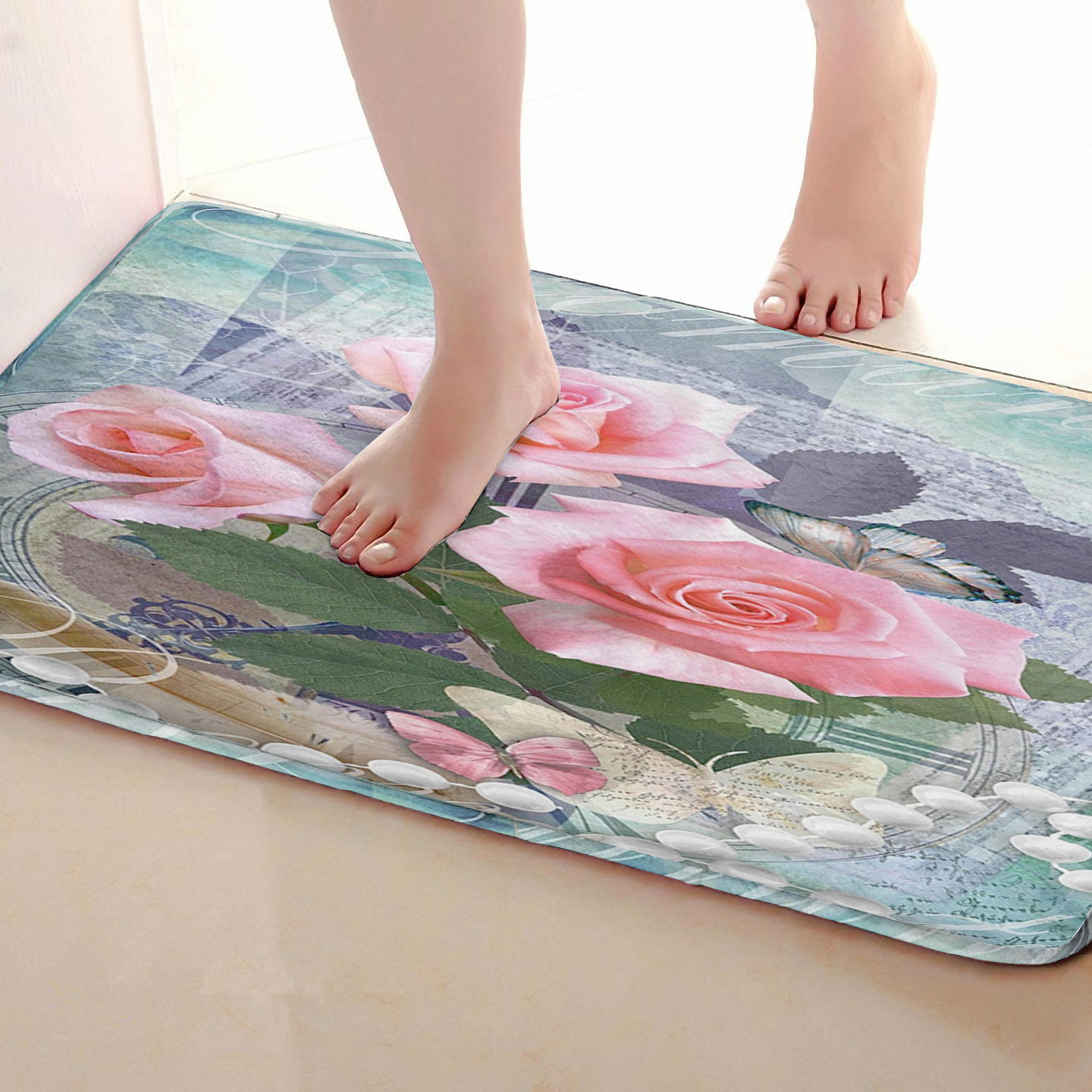 Rose Style Bathroom Mat,Funny Anti skid Bath Mat,Shower Curtains Accessories,Matching Your Shower Curtain