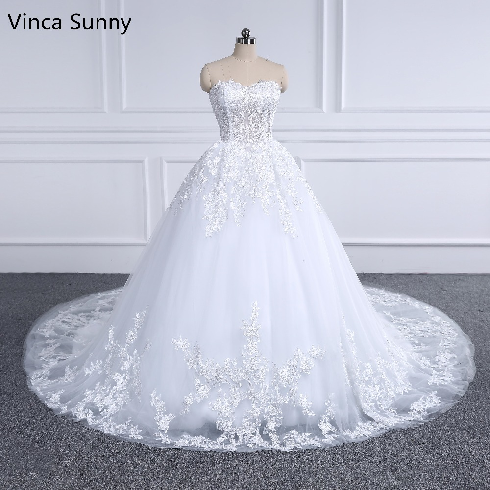 Vinca Sunny Luxury Ball Gown Bridal Dress Vintage Applique Lace Wedding Dress 2018 Princess Vestido De Noiva