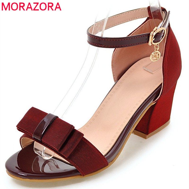 MORAZORA 2018 new arrival women sandals sweet bowknot party wedding shoes simple buckle ladies shoes high heels shoes woman morazora 2018 new women sandals summer sweet bowknot comfortable buckle spike high heels platform shoes peep toe shoes woman