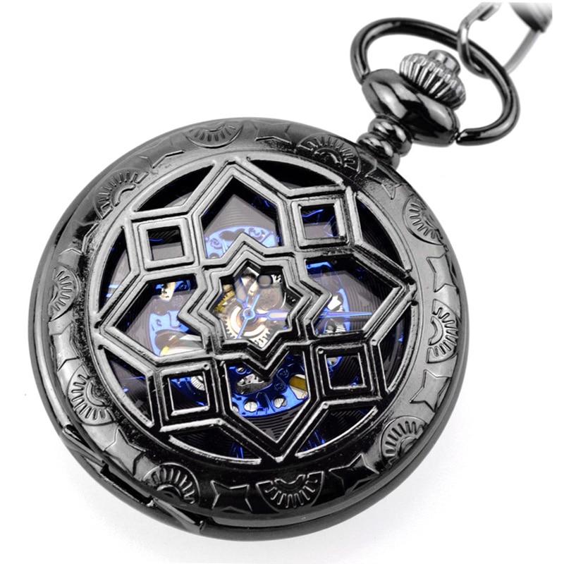 2017 Fashion Steampunk Pocket Watch WOONU Luxury Brand Men Black Skeleton Mechanical Hand Wind Pocket Fob Watches With Chain