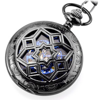 2017 Fashion Steampunk Pocket Watch WOONU Luxury Brand Men Black Skeleton Mechanical Hand Wind Pocket Fob Watches With Chain