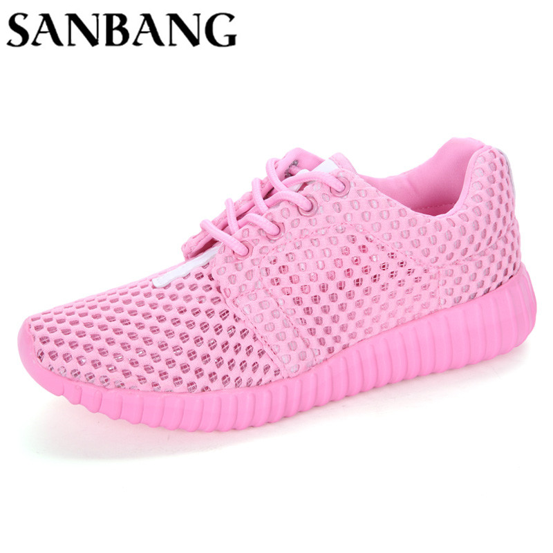 2018 Brand Woman Shoes Summer New Fashion Breathable Mesh Light Weight Lace-up Causal Shoes Woman wx5