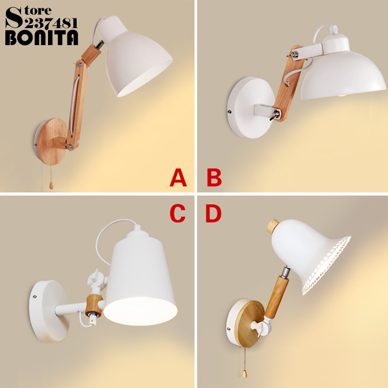 wooden wall lights for bedroom Northern Europe zipper / plug switch Dimmable Led wall lights swing arm Rotating sconces lamps