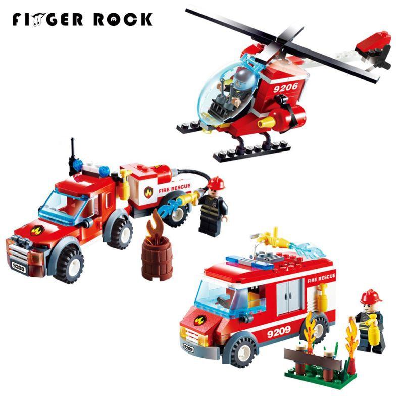 Brandhjälpsbyggnadsblock Lastbil Fordonsmodell Brandman Figurer Leksaker DIY Monteringstenar Pedagogiska gåvor för barn
