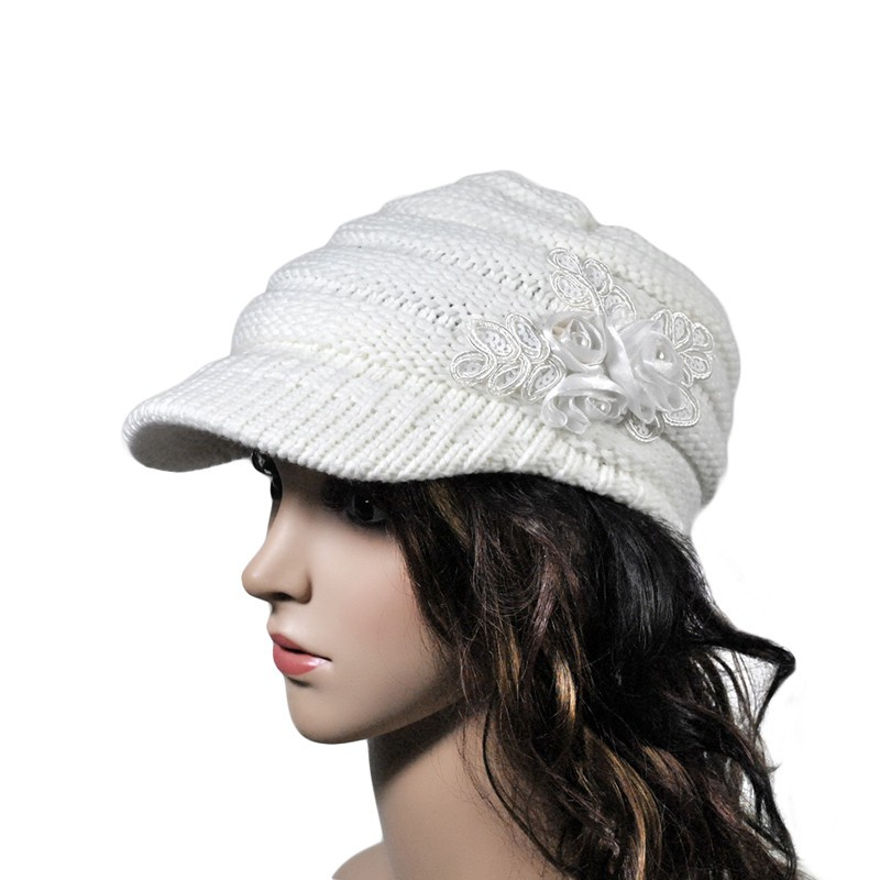 ... 2018 Hot Sell Women s Cable Knit Visor Hat With Flower Accent Cap Hat  felt Hats Fashion ... 6f602bad4e0