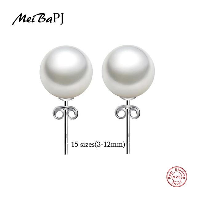 Meibapj Unimaginable Price High Quality 15 Sizes Real Round Pearl Earrings For Women 925