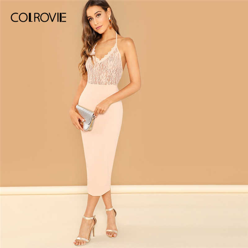 cb089840074 COLROVIE Pink Eyelash Lace Bodice Bodycon Halter Party Dress Women 2019  Sleeveless Slim Sexy Summer Dress
